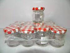 24 bocaux pot 45ml en verre rond pour conservation de confiture Couvercles rouge