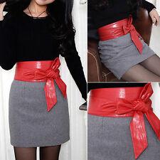 PU Leather Womens Ladies Soft Wrap around Tie Corset Cinch Waist Wide Belt Hot