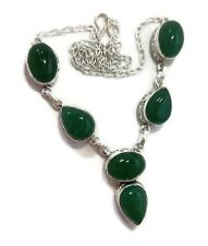 Gift For Her !! GREEN ONYX Gemstone 925 Sterling Silver Plated Necklace Jewelry