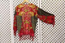 Blanc vintage paon soie velours devore 70s frange longue écharpe veste kimono s m