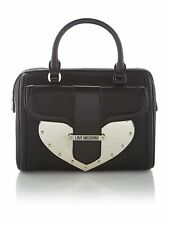 Love Moschino Silver Metal Heart Black Scatchel Tote Bag W/ Shoulder Strap NWOT