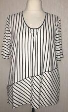 Chalou T Shirt Tunika kurzarm schwarz weiß gestreift Viskose Übergrösse XXL