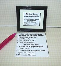 Miniature Diploma, MS Master of Science w/SEAL #1-Blk Frame: DOLLHOUSE 1:12