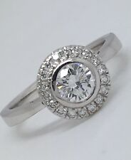 Stunning 0.74ct Diamond & 18ct Gold Halo/Solitaire Ring Size N 4.3g RRP £3995