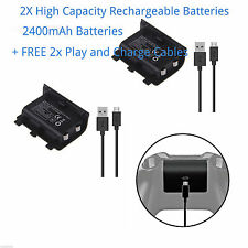 2X 2400mAh Rechargeable Battery Pack + FREE 2mt Long Charging Cable for XBOX ONE