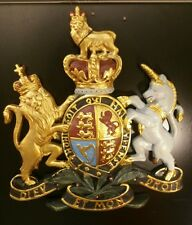 Royal Coat of Arms Wall Plaque Large Coloured British Royal Crest Wall Plaque