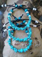 Ladies Girls Natural Turquoise Friendship Adjustable Bracelet Surfer Style