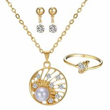 Fashion Jewelry Set Round 18K Gold gp pearl Crystal  Necklace Earrings Ring sz7