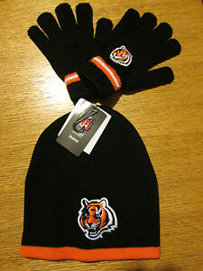 CINCINNATI BENGALS YOUTH SIZE REEBOK STOCKING CAP AND GLOVES NWT