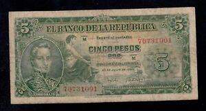 COLOMBIA 5  PESOS 1960  PICK # 405  FINE.