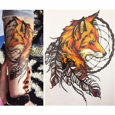 Herren Frauen Feder Fox Form Temporäre Tattoo Stickers Arm Body Aufkleber Neu