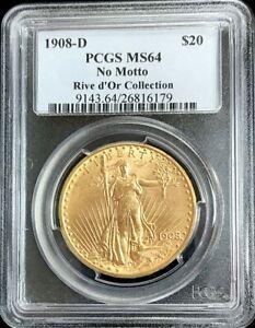 1908 D GOLD $20 SAINT GAUDENS NO MOTTO DOUBLE EAGLE RIVE d'OR PCGS MINT STATE 64