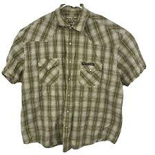 West Coast Choppers Mens XL SS Shirt Pearl Snap Jesse James Work Wear Plaid