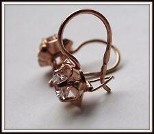 Nice Russian SILVER sterling 925 earrings  rock crystal GP 18Kt gold new