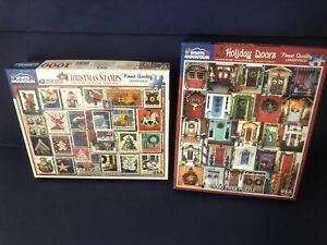 2 White Mountain Puzzles Holiday Doors & Christmas Stamps 1000 Pc Jigsaw Puzzles