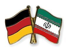 Germany & Iran Friendship Flags Gold Plated Enamel Lapel Pin Badge
