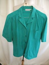 Ladies Blouse Compliments UK 12, emerald, loose fit, polyester, textured 7340