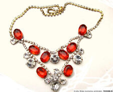 Necklace Rhinestone Gablonz Blood Red and White Crystal