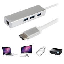 Q82 USB tipo-C 3-Port Hub adattatore LAN rj45 Adattatore di rete MACBOOK PC TV Ethernet