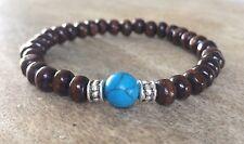 Mens Genuine Turquoise Gemstone Black Brown Wooden Bead Surfer Bracelet Stretch