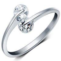 Einstellbar Öffnen Zwilling Doppelt Kristall Ring Daumen Wickeln Damen