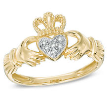 Sterling Silver Chunky CLADDAGH Ring 14K Yellow Gold Finish Over Silver