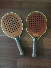 MARCRAFT RACQUET Set Of 2 Wood Pickle Ball Bantam Signature Vintage Racket Sv/gd