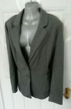 ❤ TU Ladies Size 18 Grey Pin Stripe Soft Stretch Button Up Blazer Jacket Pockets
