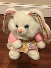 """T.L. Toys 1992 White Bunny Rabbit In Pink And Floral Dress 10"""" Tall (66)"""