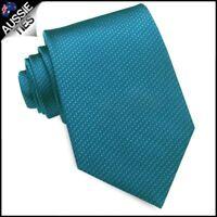 Peacock Blue Woven Texture Mens Tie Men's Necktie