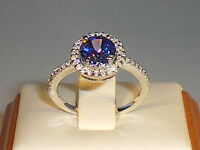 Ladies Solid 925 Sterling Silver 1 Carat Tanzanite & White Sapphire Cluster Ring