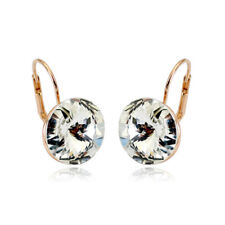 Large 15 MM Round Bella Earrings Clear Swarovski Crystal Rose Gold Plated Bezel