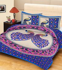 Indian Pure Cotton Bedsheet Peacock Beautiful Design Bedspread With Pillow Cover