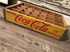 Vintage 1963 Yellow Coca Cola In Bottles Coke 24 Divider Crate Excellent Shape!