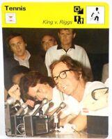 "Billie J King Vs Bobby Riggs 1977 Pro Tennis Sportscaster 6.25"" Card 15-21 Sexes"