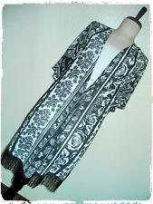 Siren Lily Bohemian Boho Floral Striped Black Fringe Mesh Kimono 2X