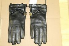 MOSCHINO LEATHER GLOVES WITH BOWTIE AND SMALL HEART- BLACK- SIZE:7 - NWT