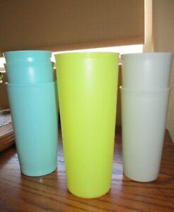 Multicolor Retro Tupperware Tumblers, Lot of 6: Aqua, Grey, Yellow, EUC