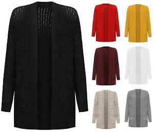 Ladies Open Boyfriend Cardigan Cable Knitted Pocket Plus Size Long Sleeve
