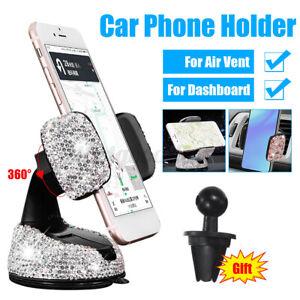 Universal Rhinestones Bling Crystal Car Phone Holder Dashboard Air Vent Mount