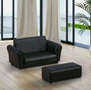 @ Kids Pvc 2-seater Mini Children's Sofa 2-piece Set Footstool Black Soft 35!21