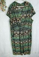 Womens plus size 3X Dress Pockets Stretch multicolor cap sleeve v neck aztec