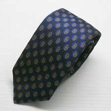 NWT $160 Canali Tie 100% Silk Woven Navy with Royal and Orange Medallion Pattern