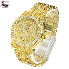 Techno Pave Hip Hop Stainless Steel Back Bust Down Iced Band Watches WM 7341 G