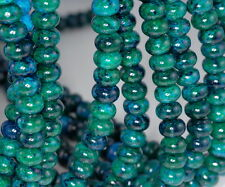 TURQUOISE CHRYSCOLLA GEMSTONE DONUT RONDELLE 11X7MM LOOSE BEADS 16""