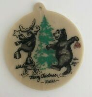 Merry Christmas Ornament Alaska Stone Disc Ornament Kiana Adams Bear Moose