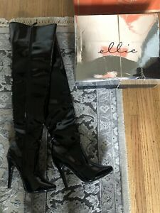 "Ellie Black Patent Leather 5"" Wet Look Thigh High Boots Size 7"