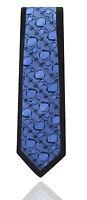 Mens Tie - Slim Black & Floral Blue Paisley - Italian Wedding Woven Silk