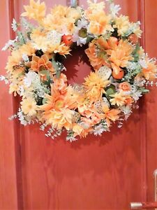 Wreath, Summer/Fall wreath, Front door wreath, Yellow flower wreath