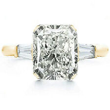 2 carat center Radiant cut Diamond Engagement Solitaire Gold Ring SI1 clarity